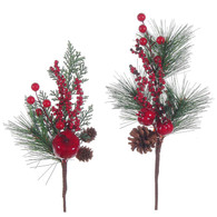 """13"""" Pine pick with berry & fruit - 2 styles"""
