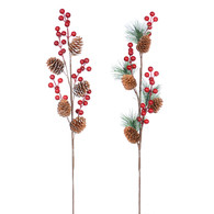 """23"""" Pine pick with berries - 2 styles"""