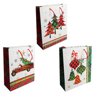 Christmas paper gift bags with assorted plaid designs - 4 styles