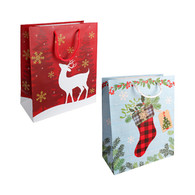 Medium Christmas paper gift bags with reindeer and stocking designs - 2 styles