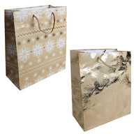 Large Christmas paper gift bags with Snowflake & tree designs - 2 styles