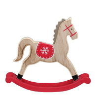 """Red & Natural Wood Rocking Horse 9""""x8"""""""