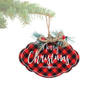 """Hanging MERRY CHRISTMAS wood ornament with pine & berries 4"""""""