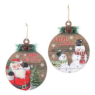 """Wood round Christmas themed plaques 10""""D - 2 styles"""