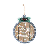 """Metal & wood round Christmas themed plaque 10""""D"""
