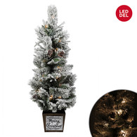 """Pre-lit Outdoor tree in a Merry Christmas pot 43""""H"""