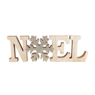 """Wood NOEL Sign with Glittered Snowflake 16""""x5""""H"""
