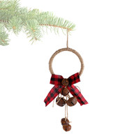 """Door Knob ornament with rusty bells and bow 12"""""""