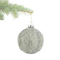 """Light green embossed glass ball ornament with glitter 4""""D"""