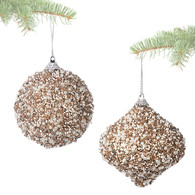 """Hanging ornament with glitter & beads 3.5""""D - 2 styles"""