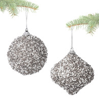 """Hanging ornament with SILVER glitter & beads 3.5""""D - 2 styles"""