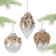 """Transparent ball decorated with GOLD beads & sequins 3.5""""D - 3 styles"""