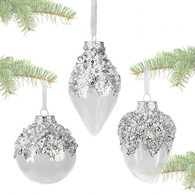 """Transparent ball decorated with SILVER beads & sequins 3.5""""D - 3 styles"""