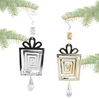 """Metal Present ornament with a gem 9"""" - Gold & Silver"""