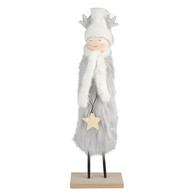 """Fabric angel with fur on a wood stand 13""""H"""