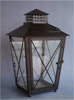 """Black colour metal & glass lantern 8""""x8""""x15""""H (min 2, 6/crtn)"""