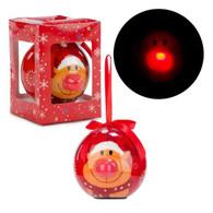 """3"""" LED Ornament """"Red Nose Reindeer"""""""