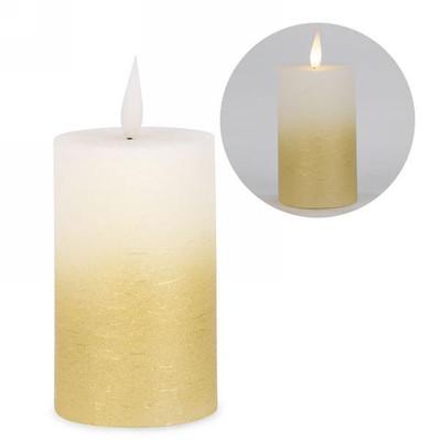 """2-tone LED candle - gold base 3""""x5""""H"""