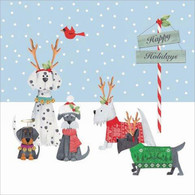 """Lunch napkins - happy holiday dogs 6.5""""x6.5"""""""