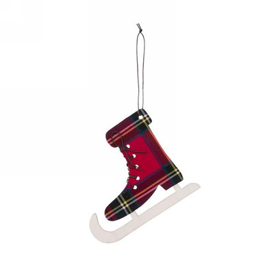 "Red plaid skate ornament 6""x5""H"