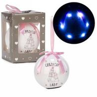 "3"" White LED Ornament - Cat Lady"
