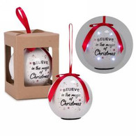 """3"""" White LED Ornament - Believe in the magic of Christmas"""