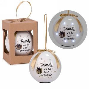 """3"""" White LED Ornament - Friends are the best presents"""