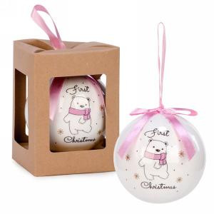 """3"""" First Christmas Ball Ornament - Pink"""