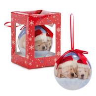 """3"""" Santa's puppies Ball Ornament"""