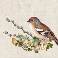 """Lunch napkins - bird on floral branch 6.5""""x6.5"""""""