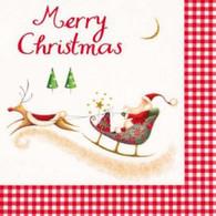 "Lunch napkins - Merry Christmas Santa sled & reindeer 6.5""x6.5"""