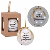 """3"""" White LED Ornament - Best Parents get promoted to Grandparents"""