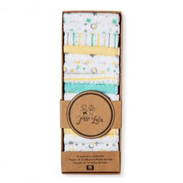"""Jess & Lulu 16-Pack Terry Washcloth - YELLOW/GREY Set includes: 16 washcloths, 8""""x8"""", 70% Cotton, 30% Polyester"""