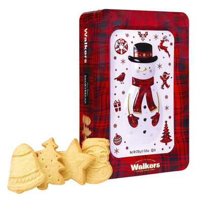 Walkers Shortbread Snowman Shortbread Cookie Holiday Tin 250 gr., 6/cs