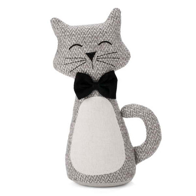 """Grey cat with a black bow door stopper  4.75""""X12.75""""H"""