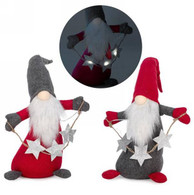 """Fabric Red & grey gnome with led stars 19""""H"""