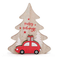"""Happy Holiday tree with red car 6""""X7"""""""