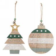 "Merry Christmas deco ornaments, Ball 6""D, Tree, 4""H"