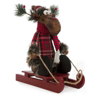 """Red plaid moose on a sled 10""""x4""""x10.5"""""""