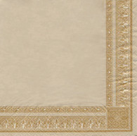"""Lunch napkins - Natural & Gold trim 6.5""""x6.5"""""""