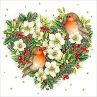 """Pine & Berries Heart with Birds 6.5""""x6.5"""""""