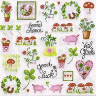 "Lunch napkin - Plants & mushroom 6.5""x6.5"""
