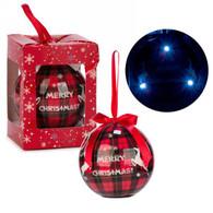 "3"" LED Ornament - Merry Christmas on Plaid"