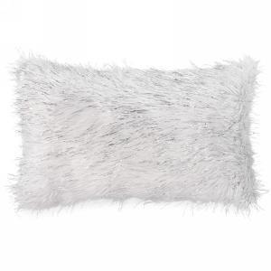 """White faux fur cushion with silver lurex trim 19""""x12"""""""