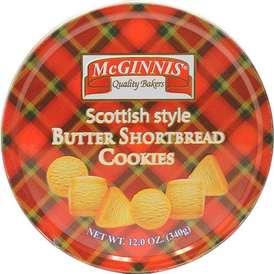 McGinnis Scottish style shortbread cookies in a large tin 340 gr., 12/cs