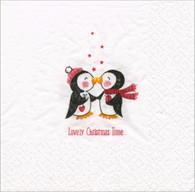 """Lunch Napkins - Penguins Christmas Time 6.5""""x6.5"""""""