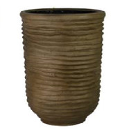 "Fiberglass planter in Light Coffee finish 17.5""Dx27""H"