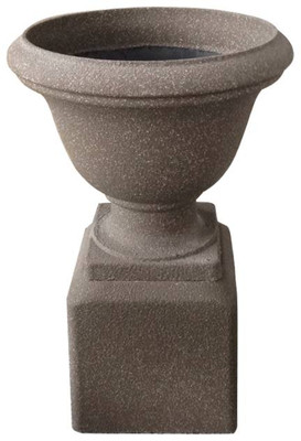 "CFG520R – Round fiberglass planter & pedestal in Aged Mocha Sandstone 17""Dx25.5""H"