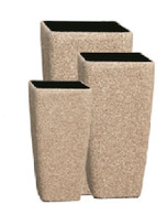 Set of 3 Fiberstone planters in beige sandstone finish