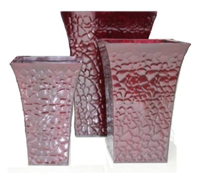 "Set of 3 Square Red /Burgundy Zinc planters L-18.5""x18.5""x25""H M-16""x16""x22""H S-14""x14""x20""H"
